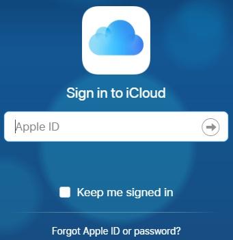 واجهة التسجيل في حساب اي كلاود iCloud