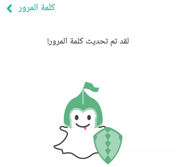 رسالة تفيد باسترجاع كلمة مرور Snapchat